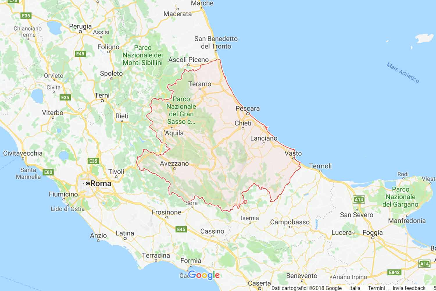Abruzzo - Chieti - Filetto Preventivi Veloci google maps