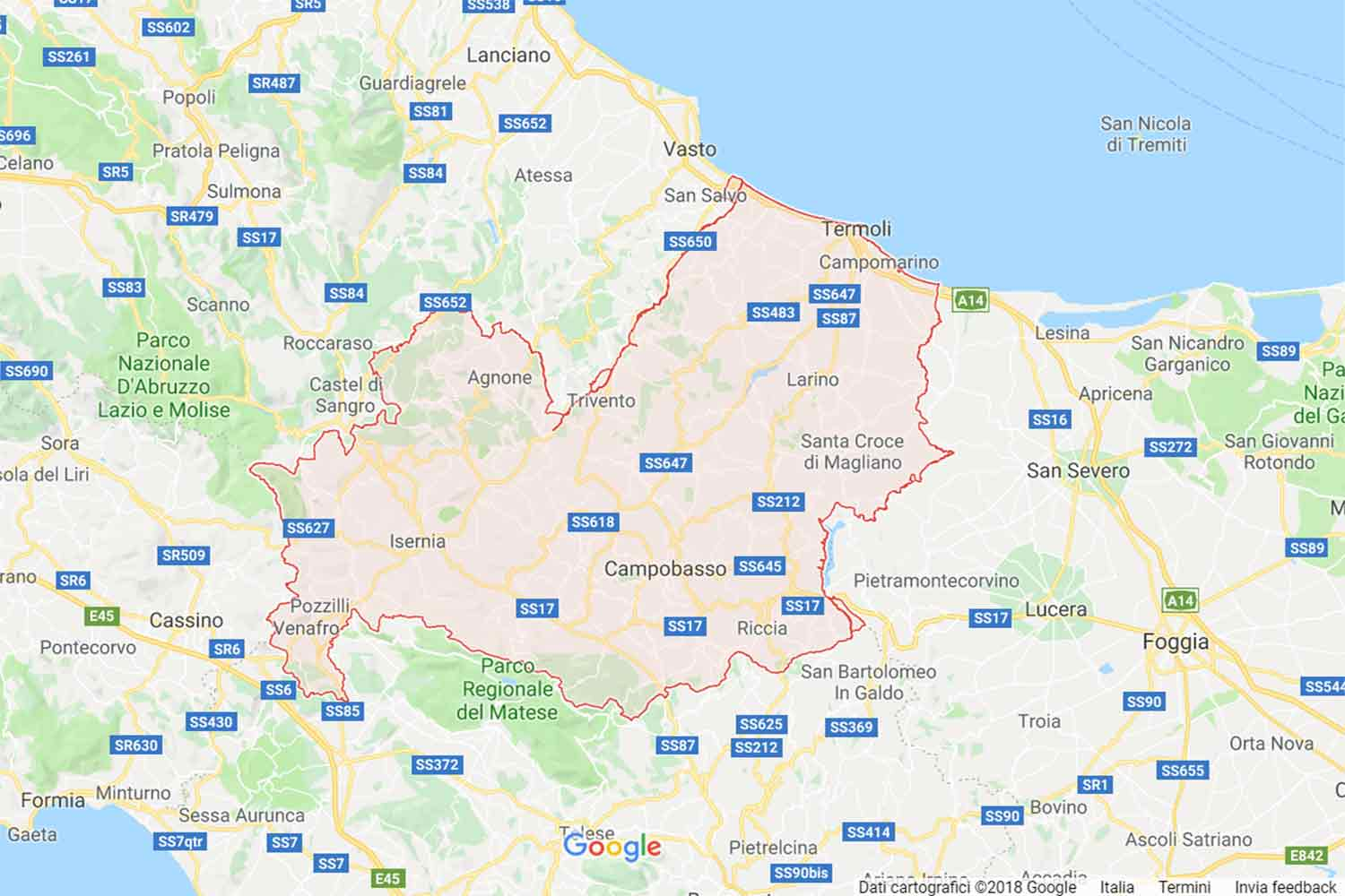 Molise - Campobasso - Colletorto Preventivi Veloci google maps