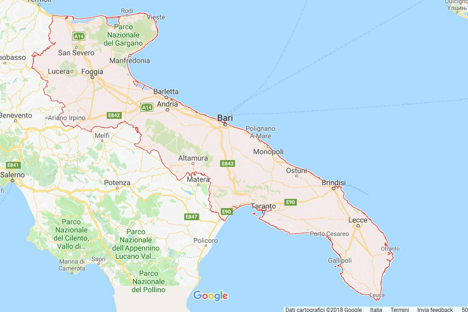 Puglia - Bari - Cellamare Preventivi Veloci google maps