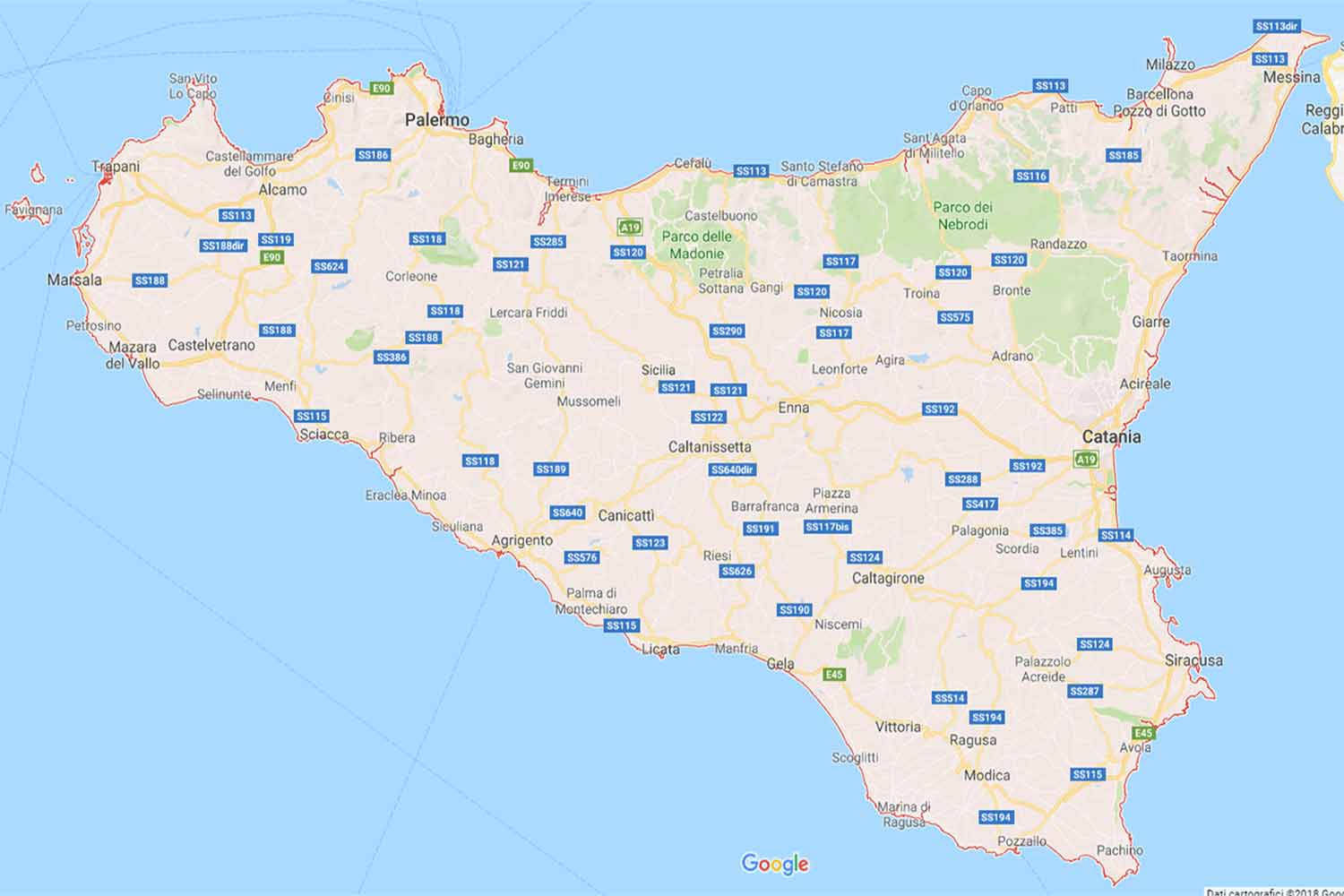 Sicilia - Messina Preventivi Veloci google maps