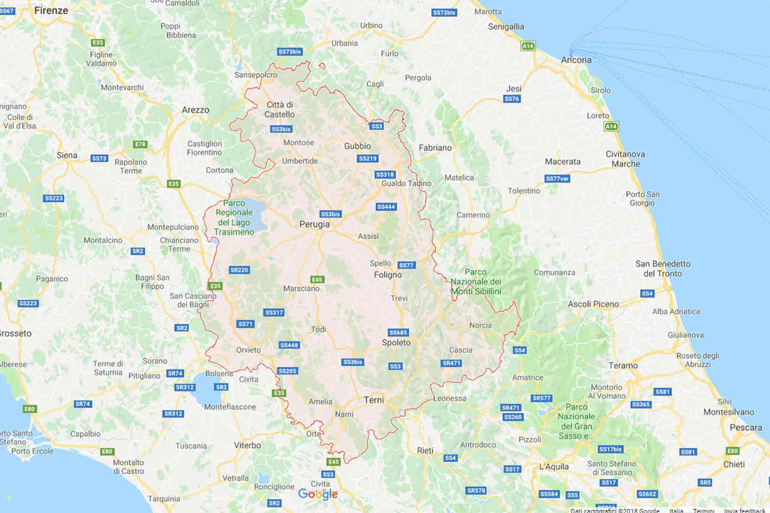 Umbria - Perugia - Sellano Preventivi Veloci google maps